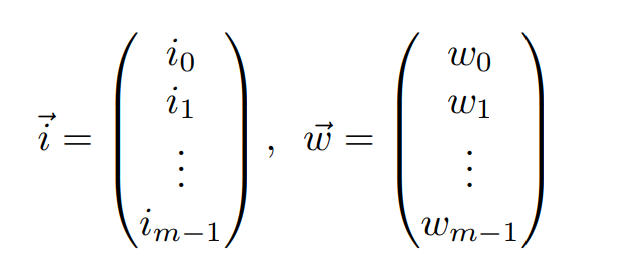 Input and Weight Vectors with m coefficients and values {-1, 1}