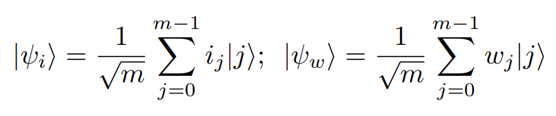 Quantum States given arbitrary input and weight vectors