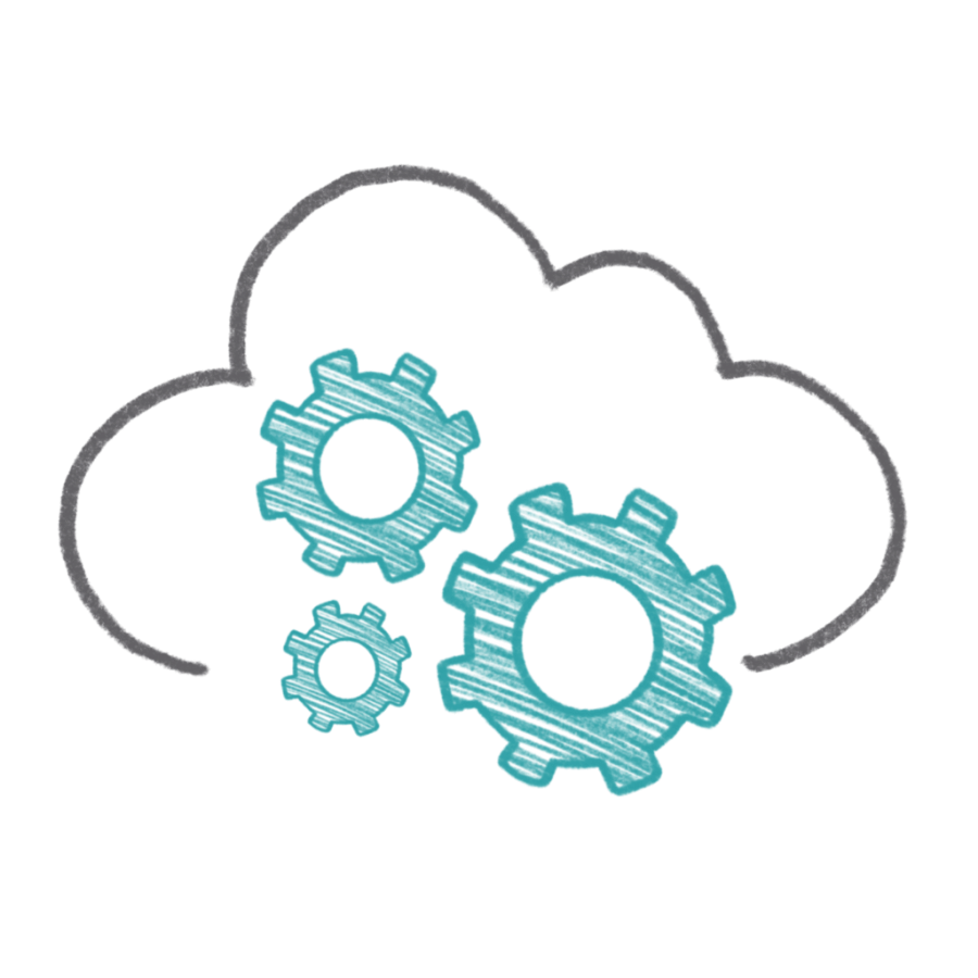 Cloud engineering and software development icon